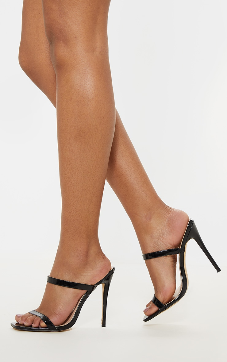 Black Twin Strap Square Toe Mule Sandal 1