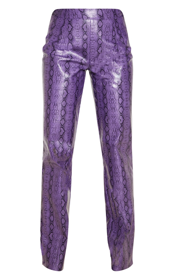 Purple Faux Leather Snake Print Straight Leg Trouser 3