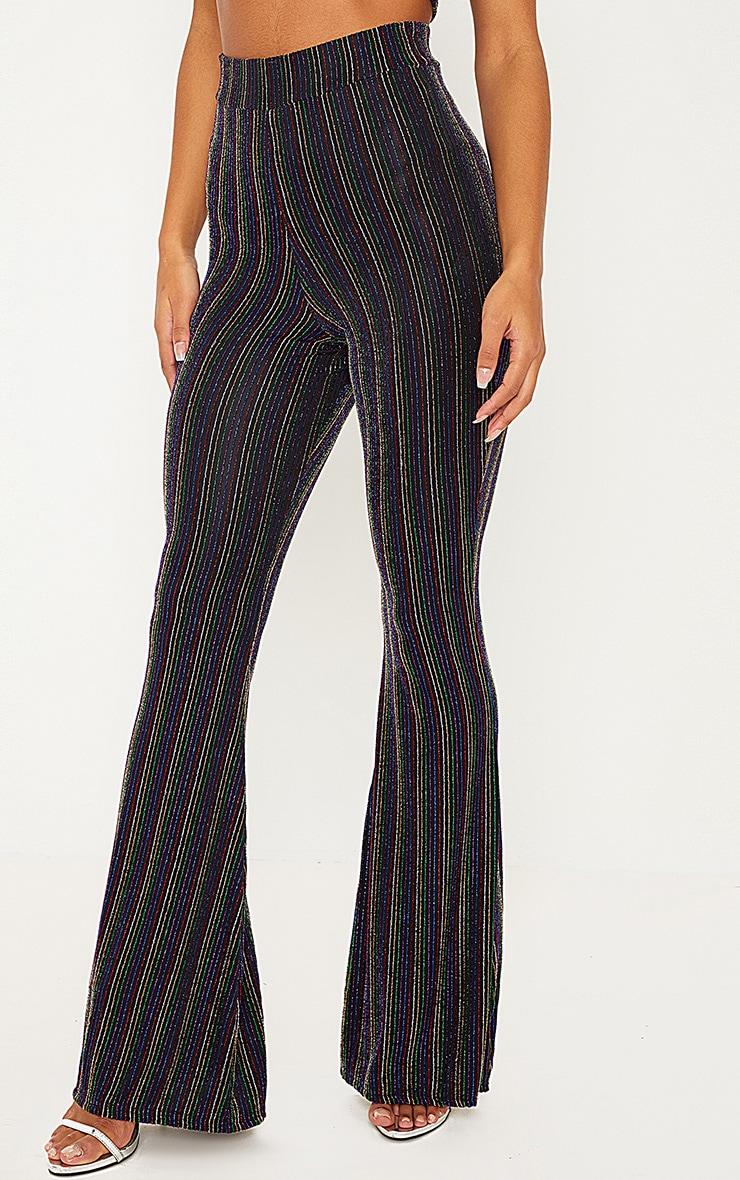 Black Rainbow Stripe Glitter Pants  2