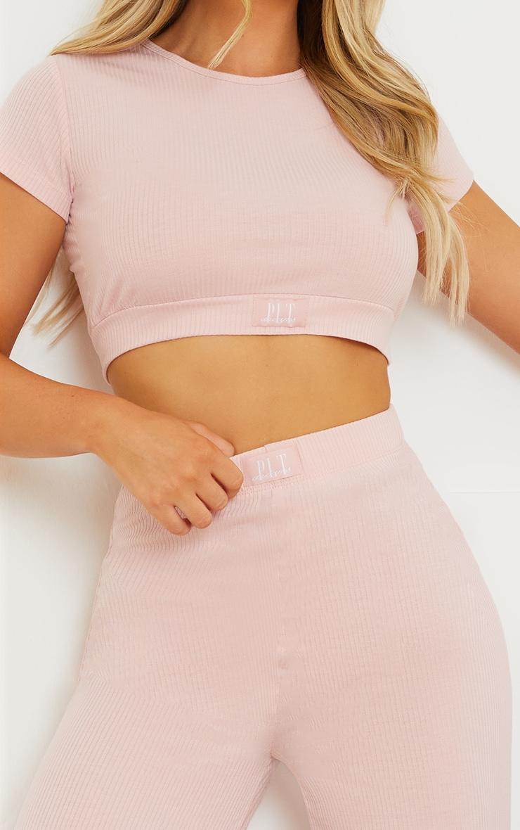 PRETTYLITTLETHING Dreams Blush Pink Badge Mix and Match Rib Wide Leg PJ Bottoms 4