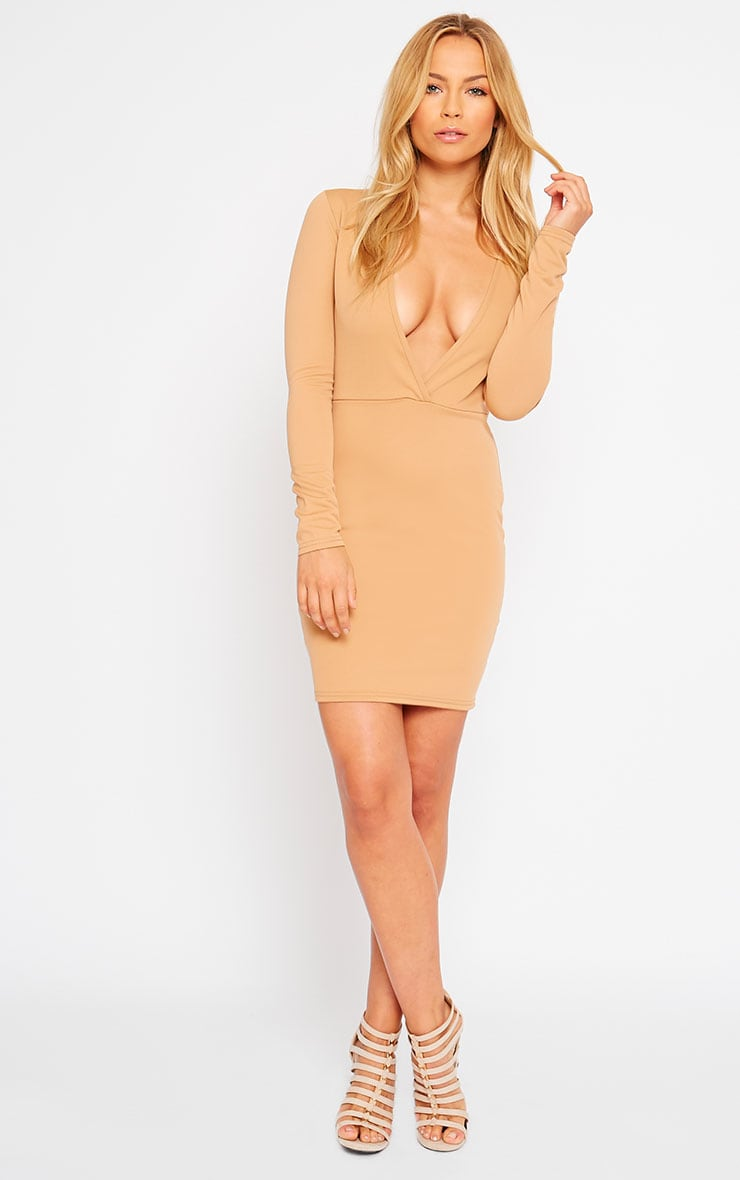Cici Camel Scuba Plunge Neck Dress 3