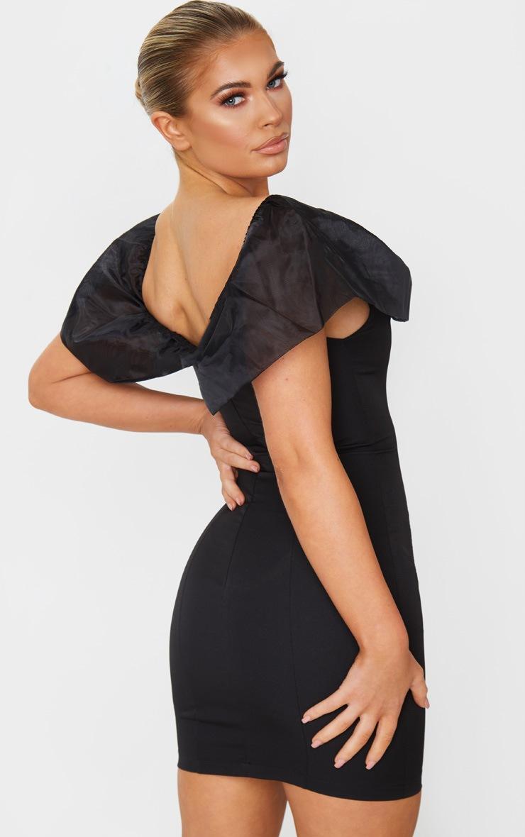 Black Chiffon Shoulder Detail Bodycon Dress 2