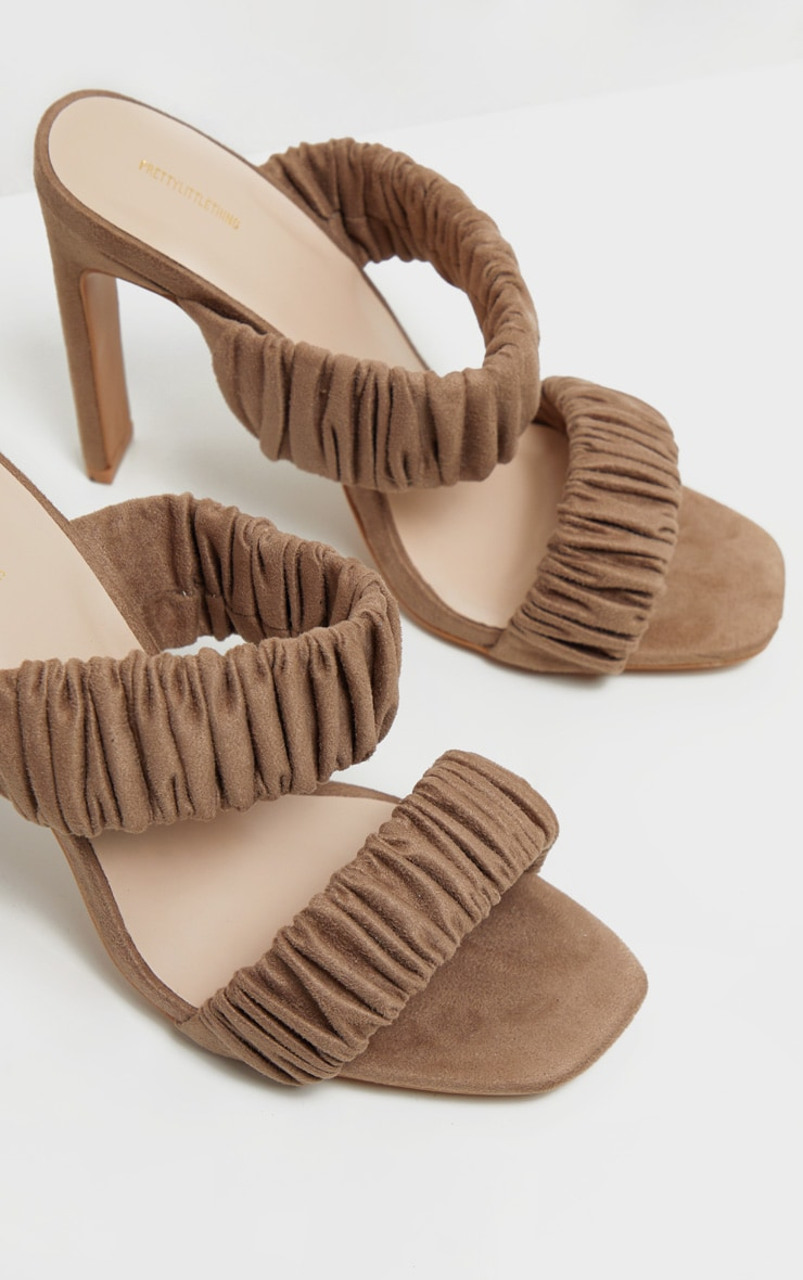 Sand Ruched Elastic Twin Strap Mule Sandal 3