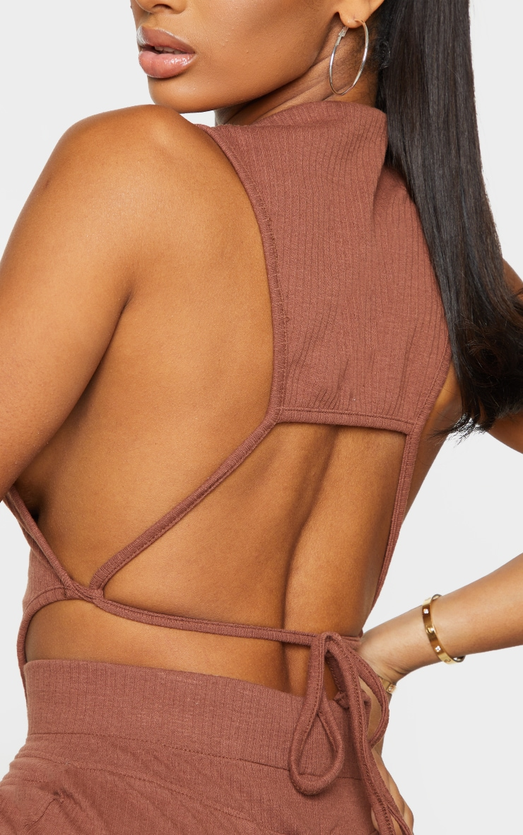 Shape Soft Brown Rib Tie Back Seam Detail Crop Top 4