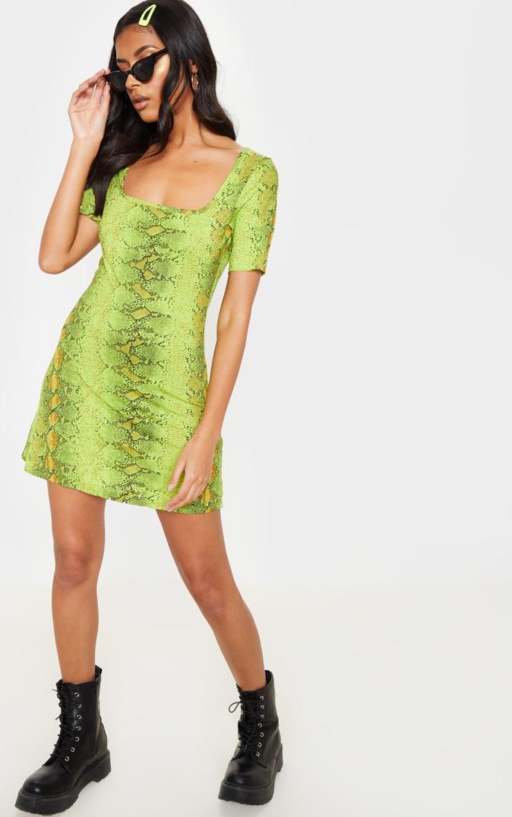 Robe droite vert citron à imprimé serpent et encolure carrée 4