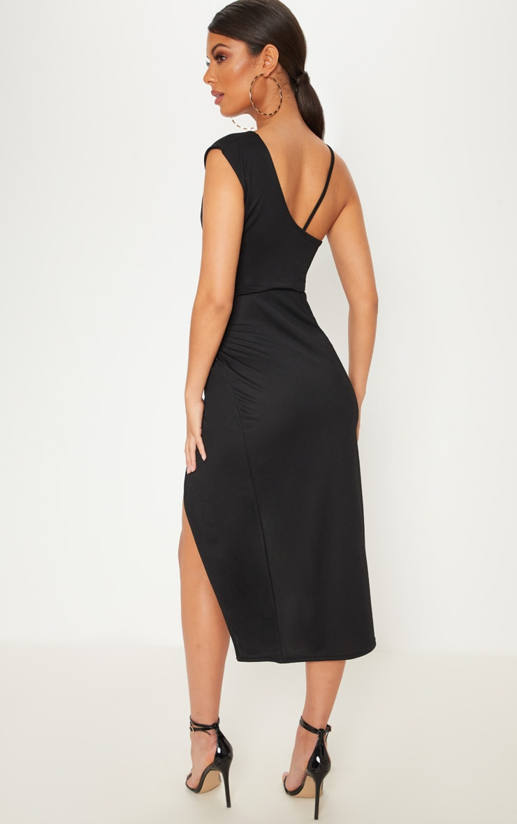 Black Asymmetric Sleeve Ruched Midi Dress 2