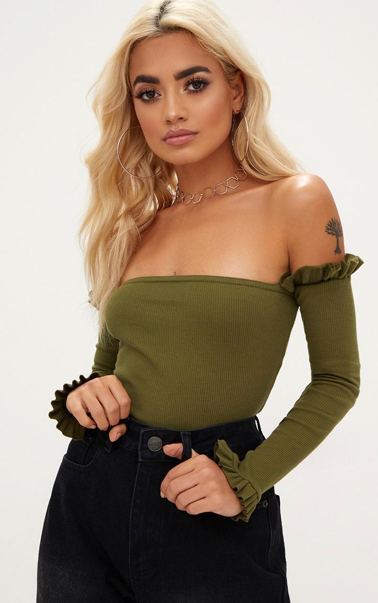 Khaki Bardot Jersey Rib Frill Hem Sleeve Thong Bodysuit 1
