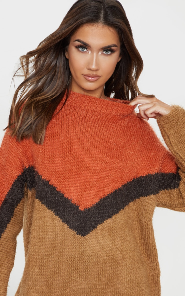 Brown Eyelash Chevron Knitted Jumper 4