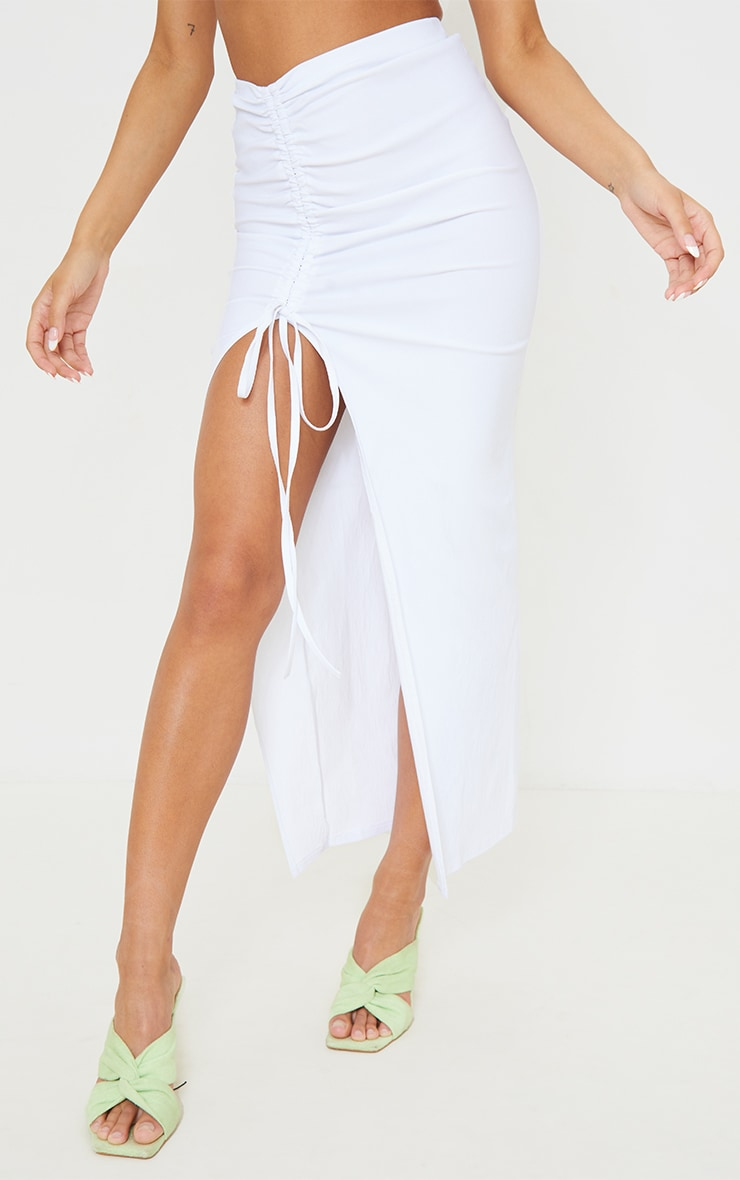 White Stretch Woven Ruched Split Leg Tie Front Midaxi Skirt 2