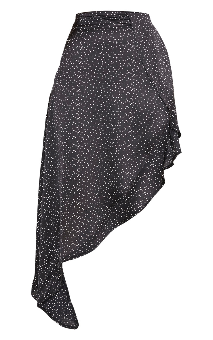 Petite Black Polka Dot Satin Asymmetric Skirt 3