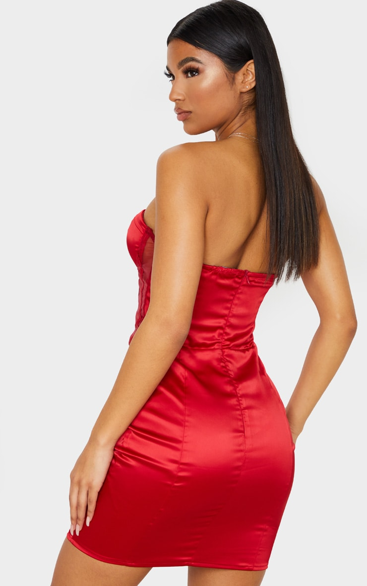Red Satin Mesh Binding Insert Cup Bandeau Bodycon Dress 3