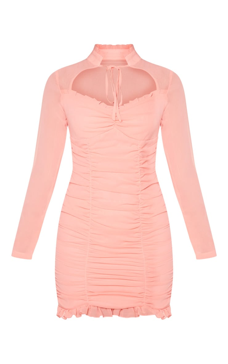 Peach High Neck Cut Out Ruched Frill Bodycon Dress 5