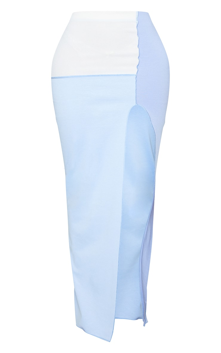 Shape Blue Panel Overlock Seam Split Front Maxi Skirt 5
