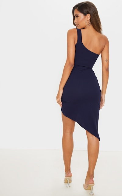 Navy One Shoulder Wrap Skirt Midi Dress
