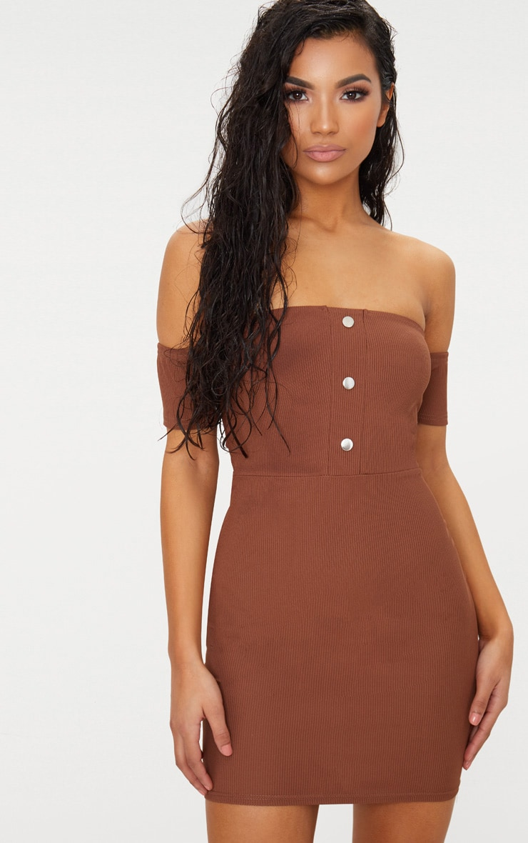 Brown Bardot Popper Detail Bodycon Dress 4