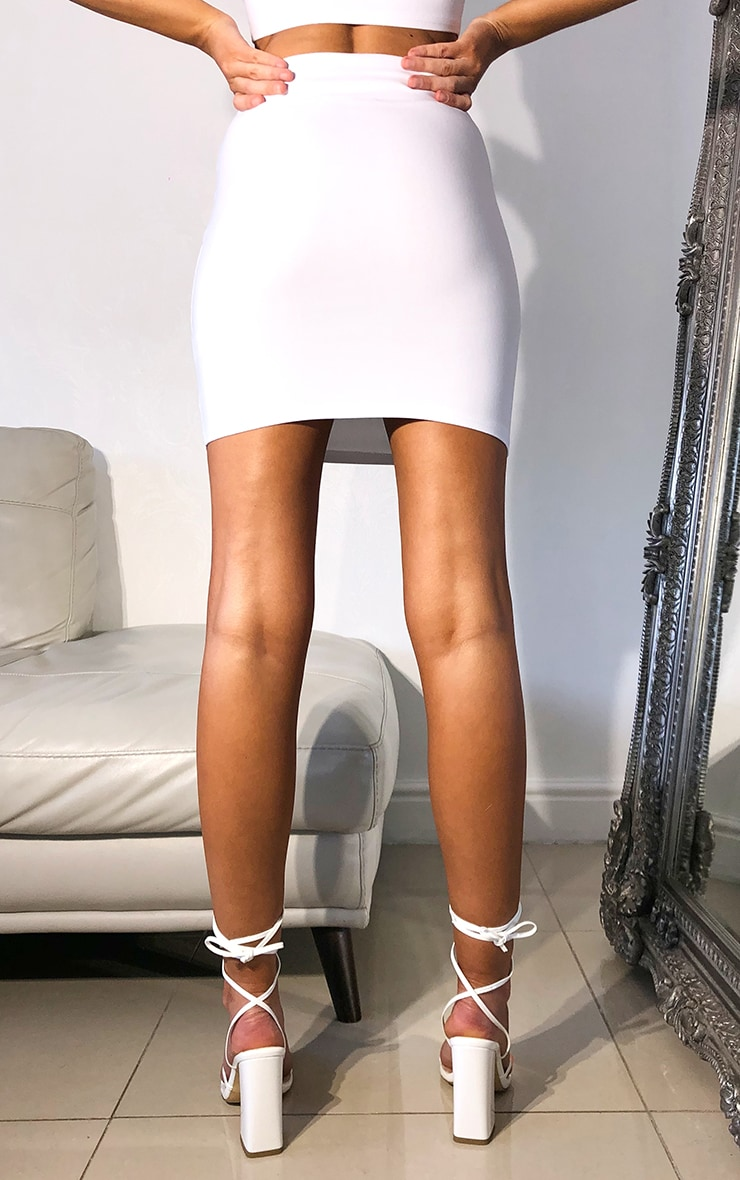 White Woven Seam Detail Mini Skirt 3