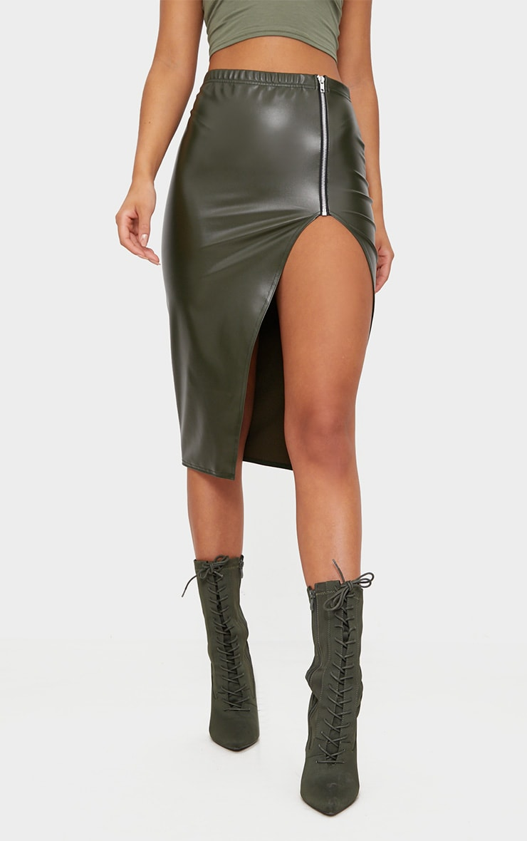 Khaki Faux Leather Extreme Split  2