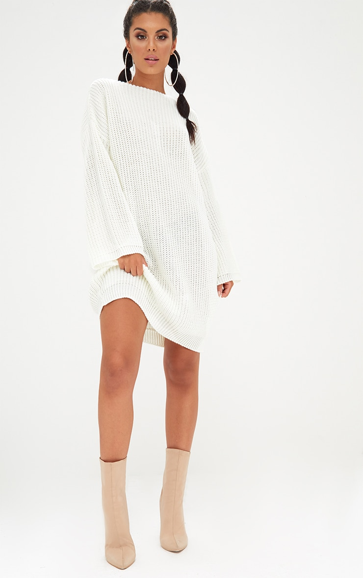 Cream Chunky Knit Flute Sleeve Jumper Dress 4