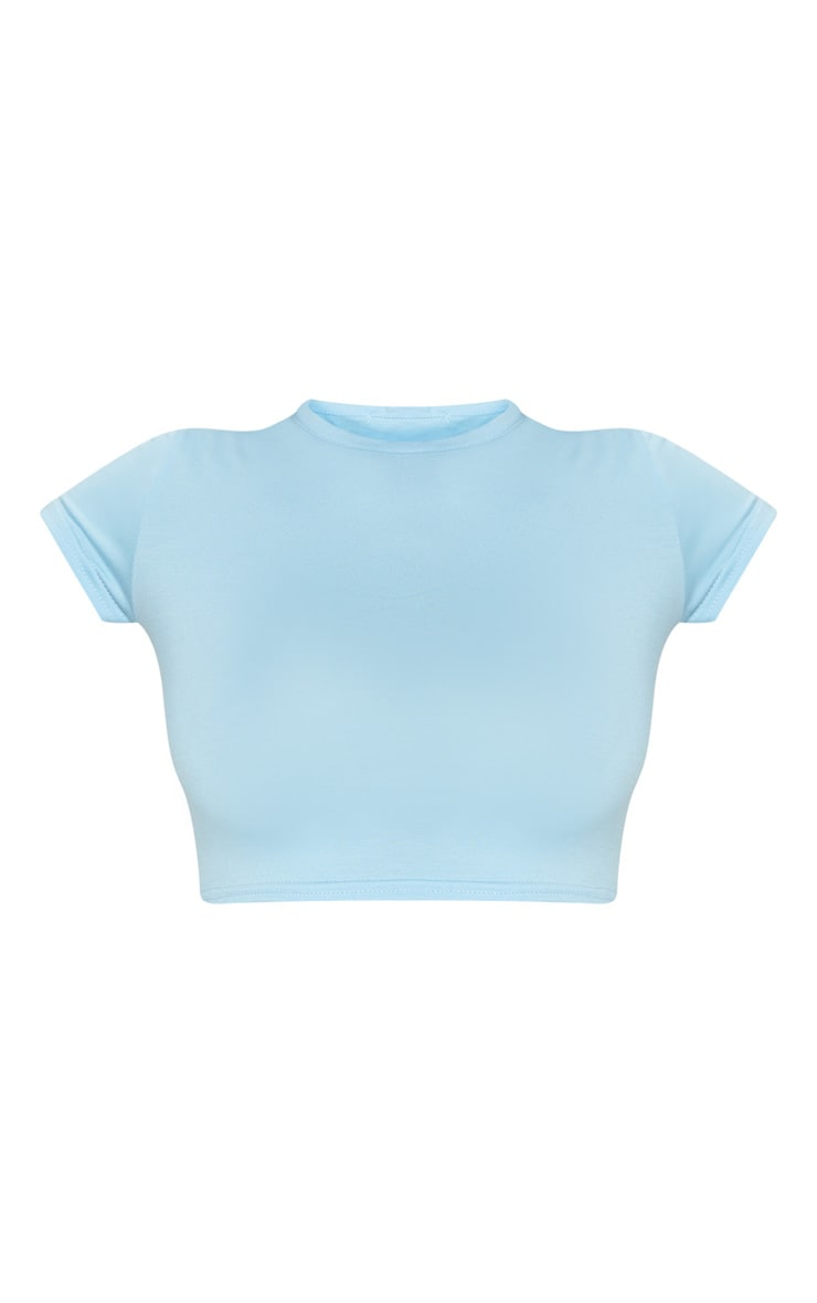 Basic Baby Blue Short Sleeve Crop T Shirt 3