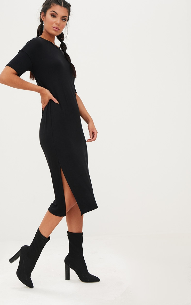 Black Jersey Short Sleeve Midi T Shirt Dress 1