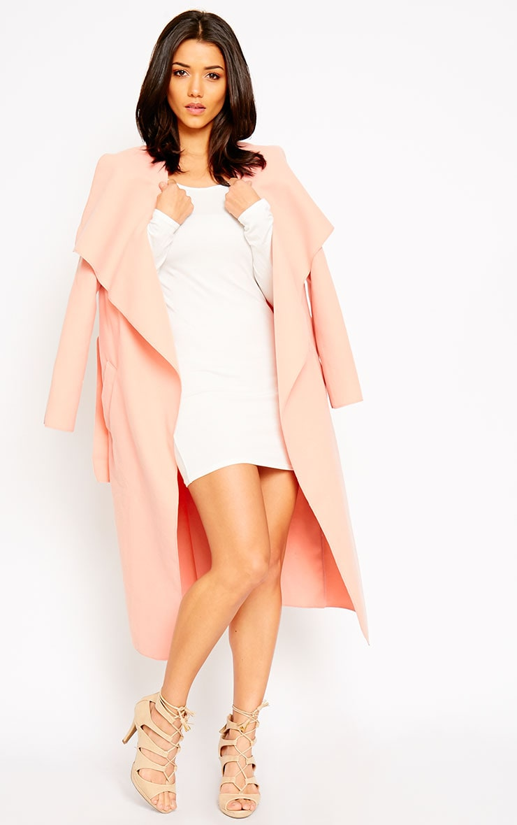 Veronica Peach Waterfall Coat 4
