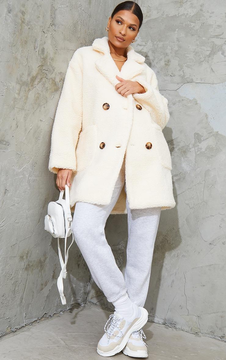 Manteau mi-long en imitation peau de mouton crème 3