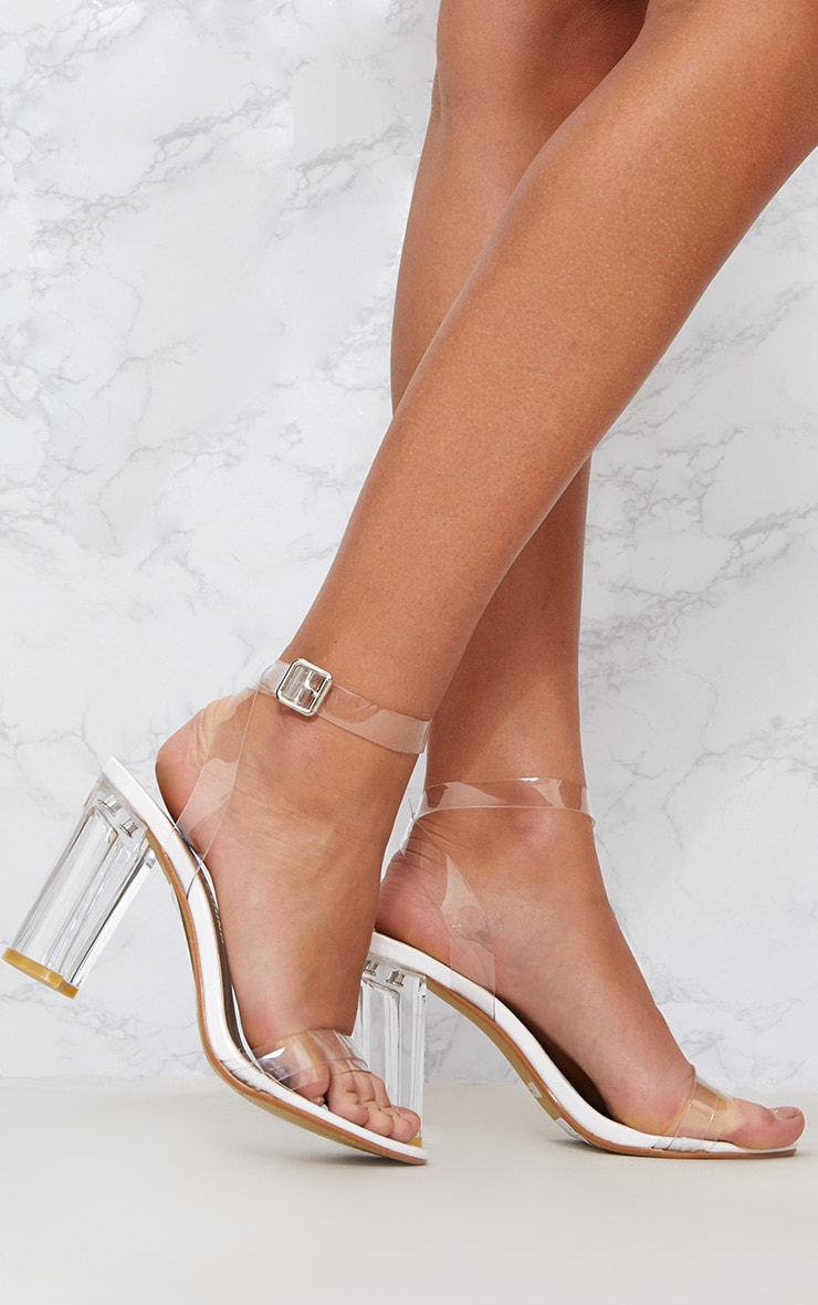 White Clear Block Heel Sandal 1
