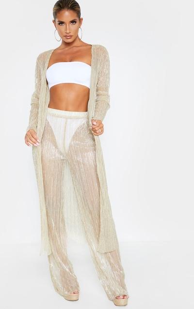 Gold Plisse Wide Leg Beach Trouser