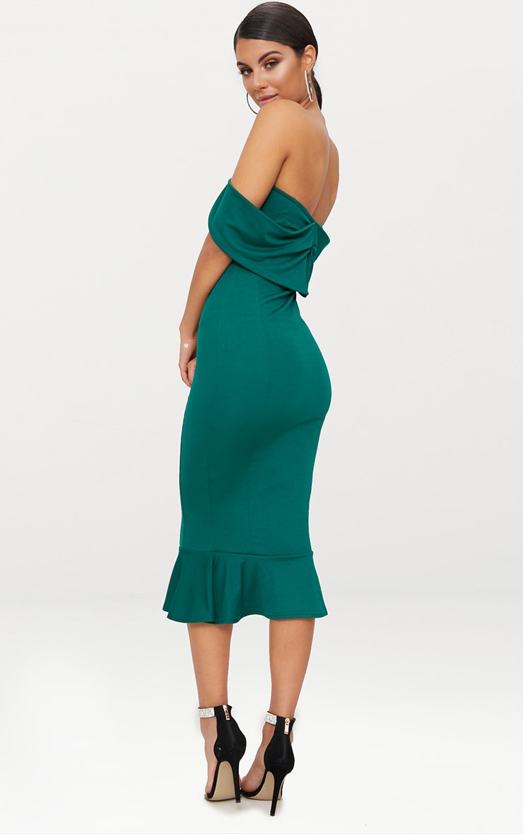 Emerald Green Bardot Frill Hem Midi Dress 2