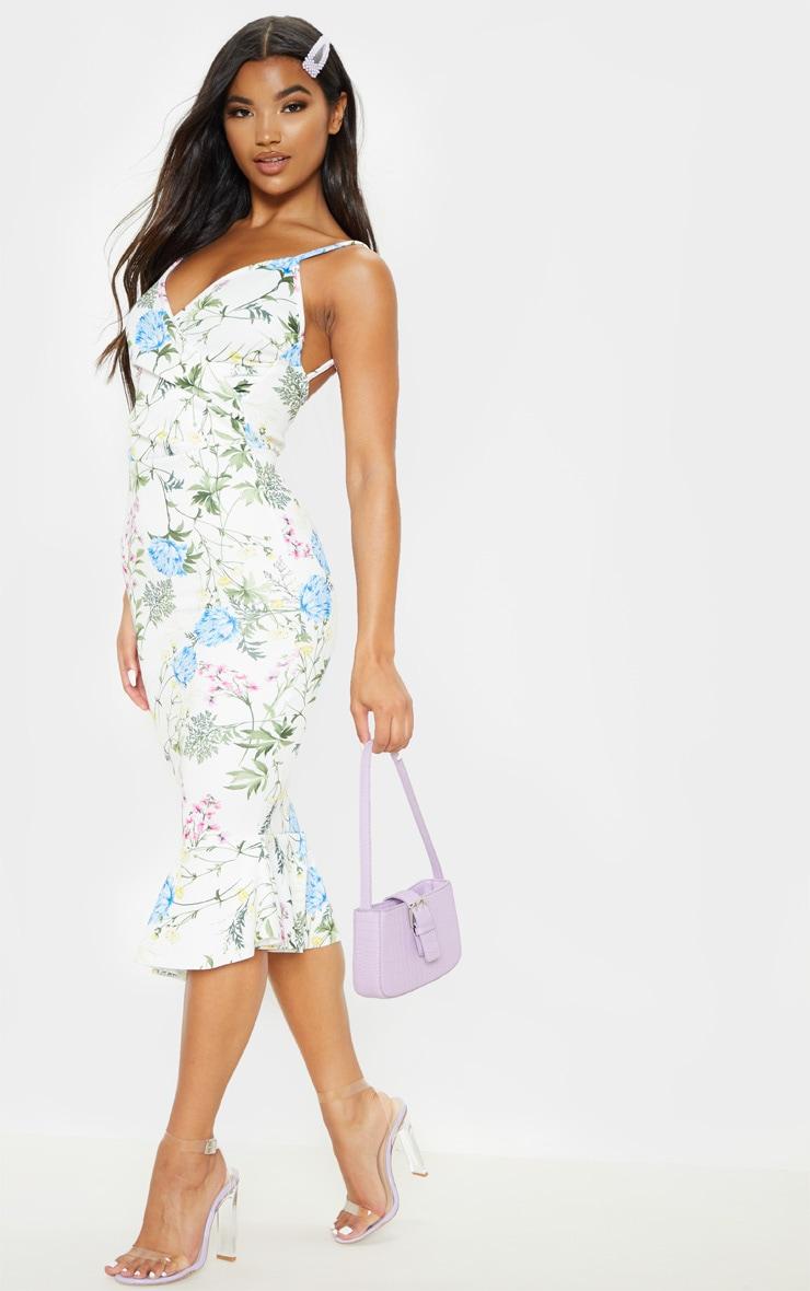 White Floral Print Wrap Front Flute Hem Midi Dress 1