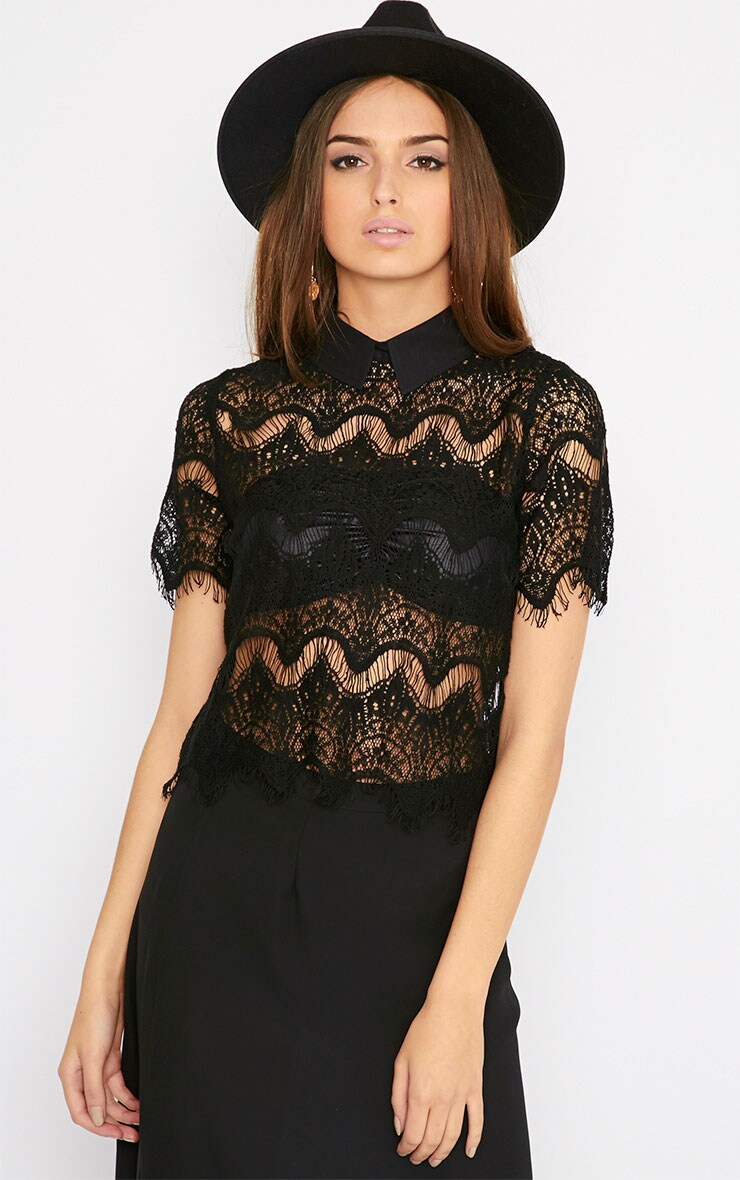 Grace Black Lace Collar Top  1