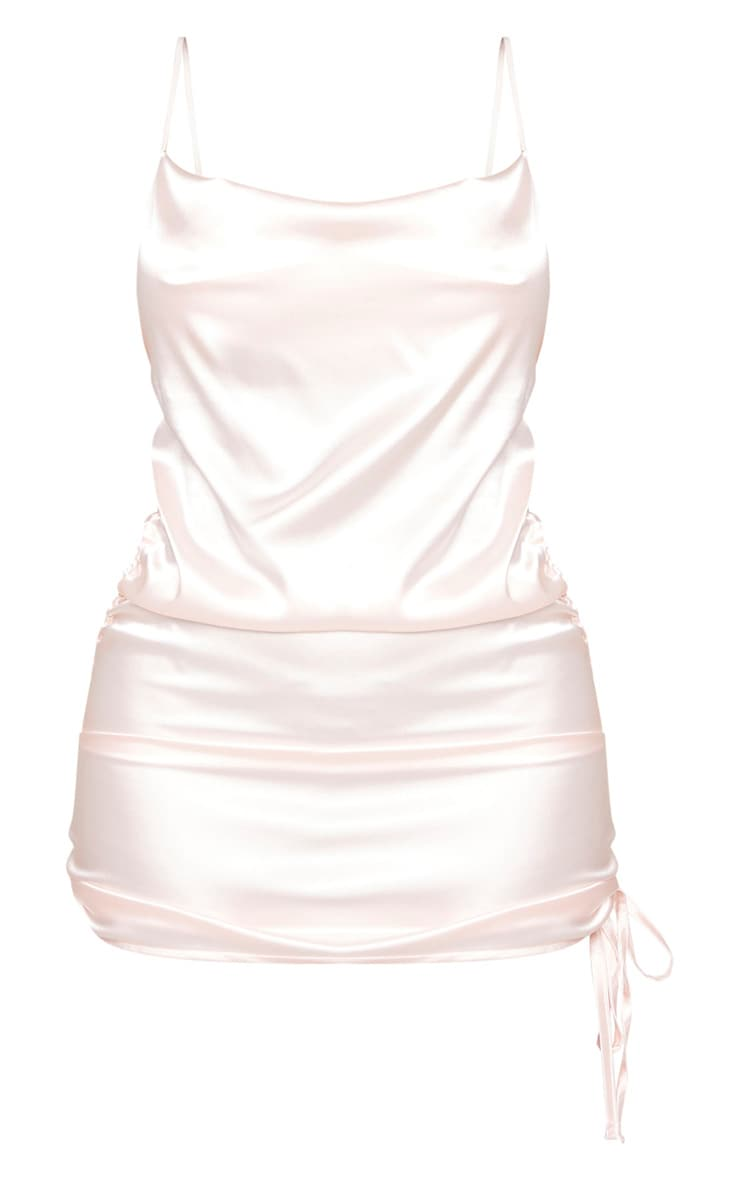 Shape Baby Pink Satin Cowl Neck Ruched Side Bodycon Dress 3