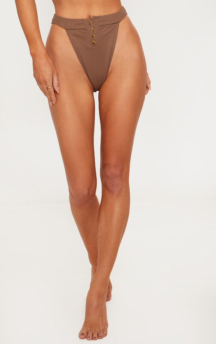 Chocolate Ribbed Button Down Bikini Bottoms 4