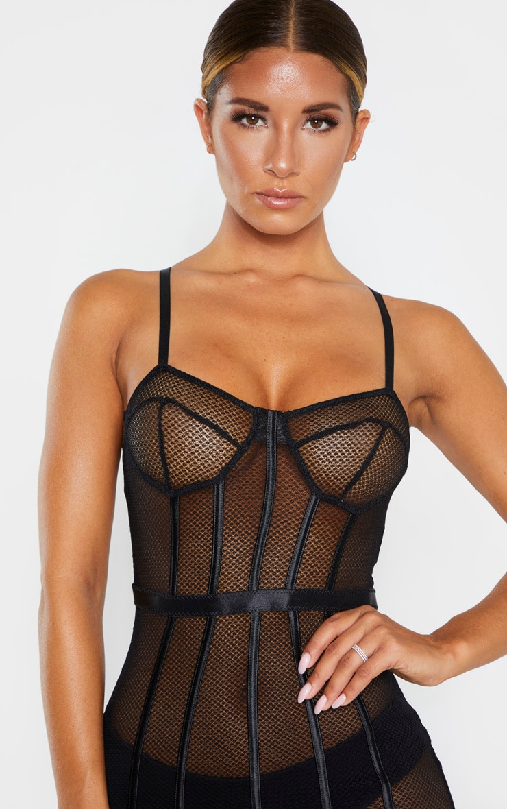 Black Fishnet Mesh Lingerie Slip Dress 5