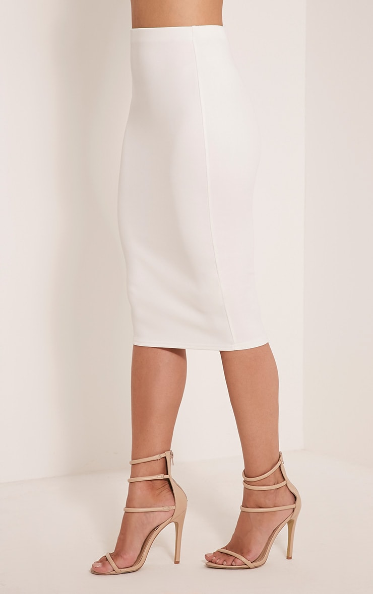 Winnie Cream Scuba Midi Skirt 4