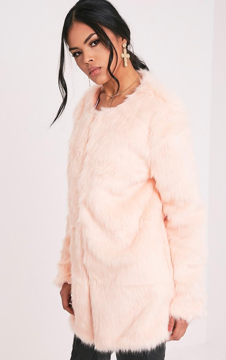 Florencia Baby Pink Faux Fur Coat 4