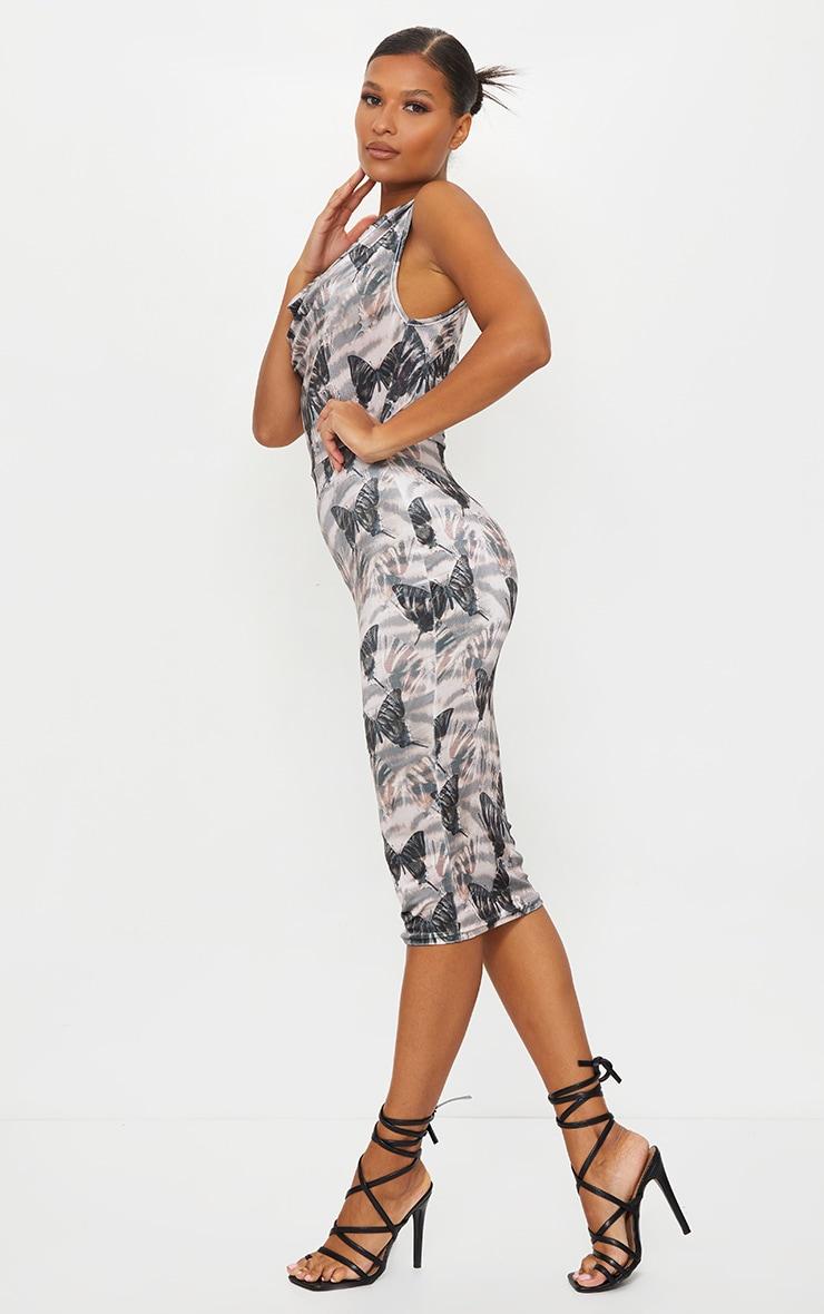 Stone Butterfly Print Velvet Cowl Neck Midi Dress 1