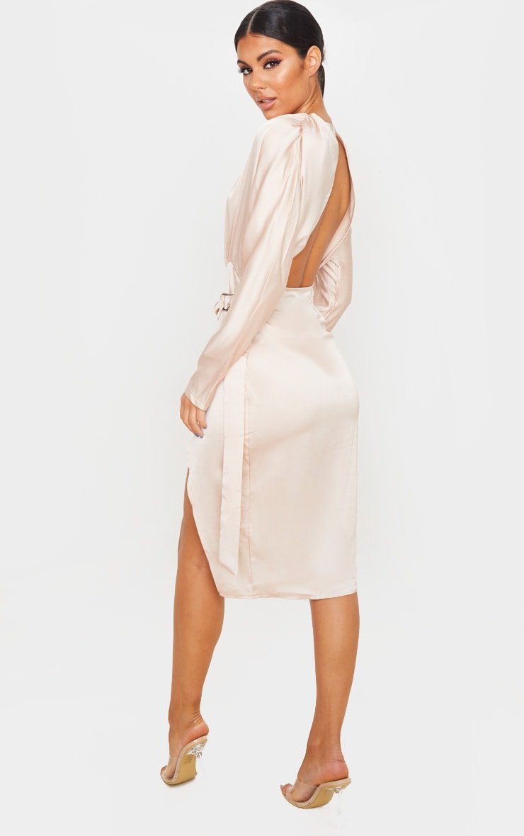 Champagne Satin Wrap Skirt Backless Midi Dress 2
