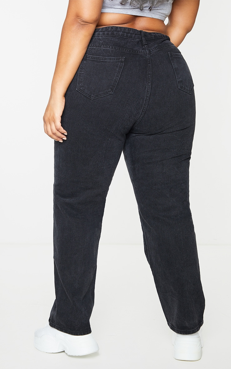 PRETTYLITTLETHING Plus Washed Black Straight Leg Jean 3