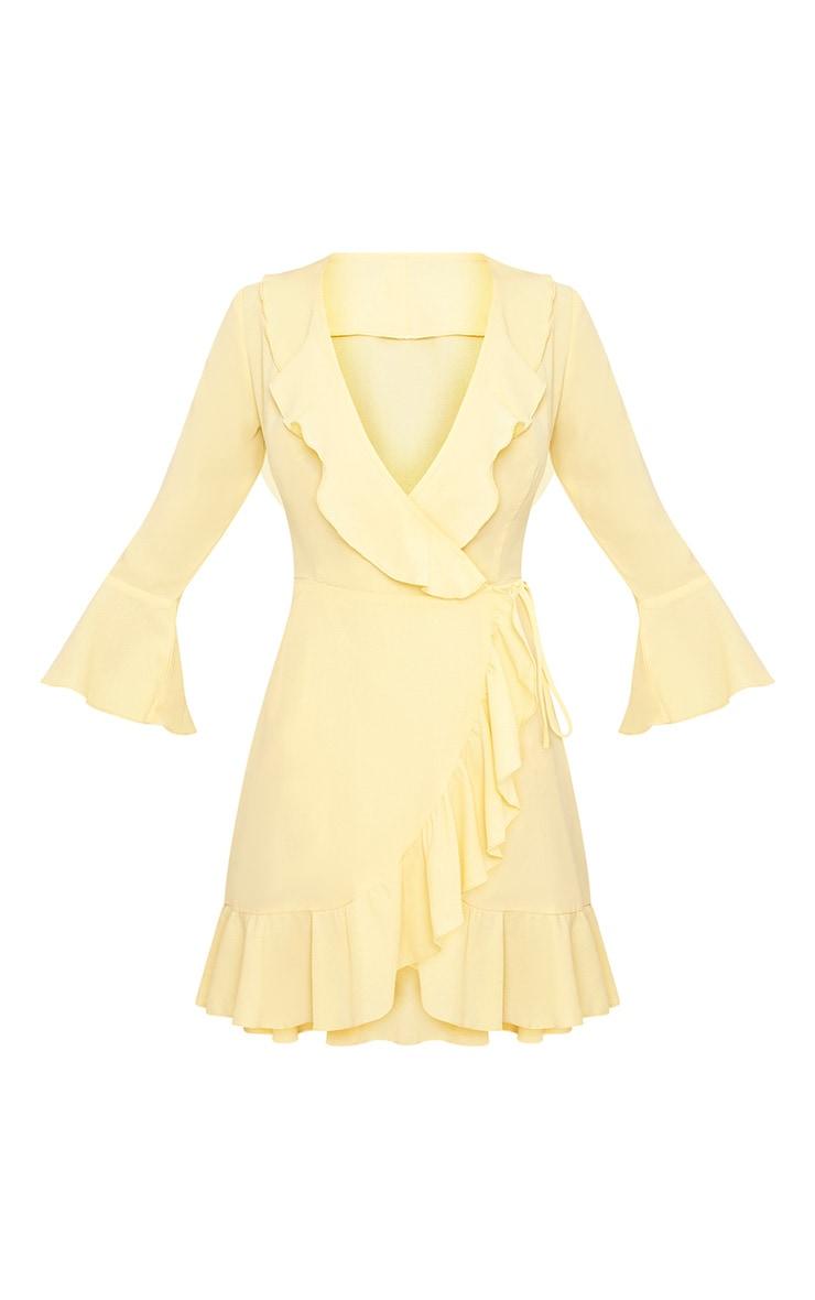Ilisha Lemon Frill Wrap Dress  3
