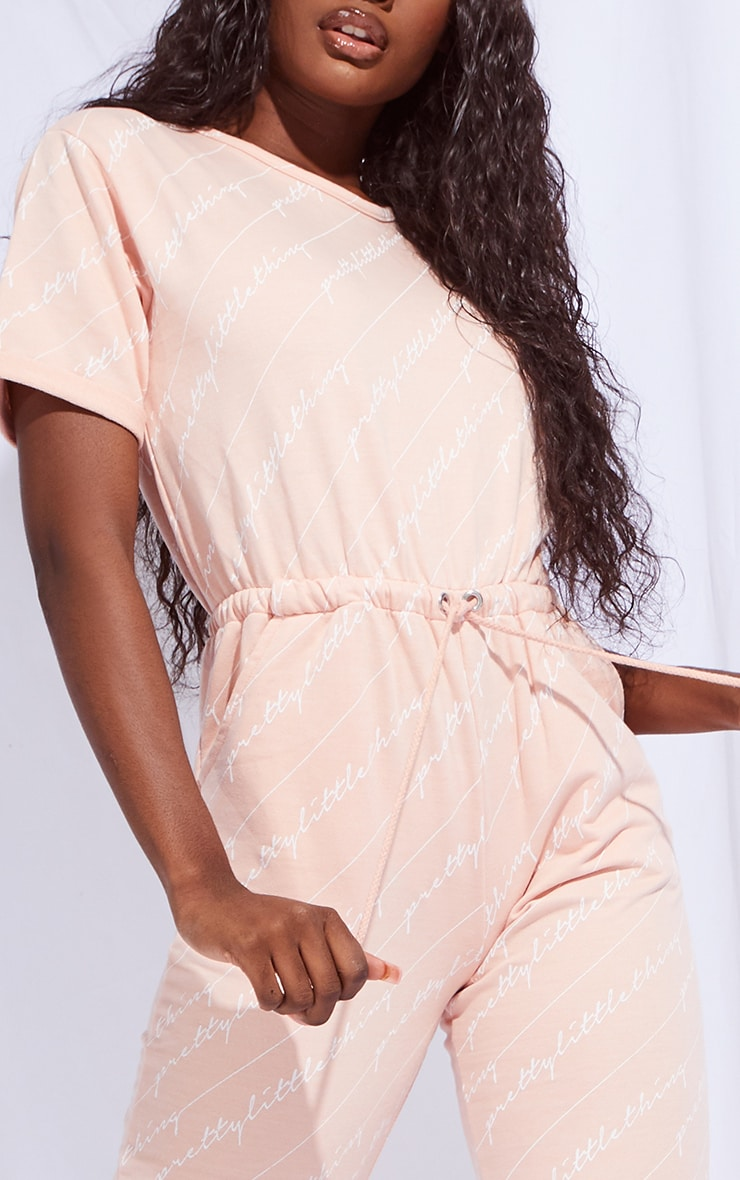 PRETTYLITTLETHING Tall Pink Short Sleeve Sweat Jumpsuit 4