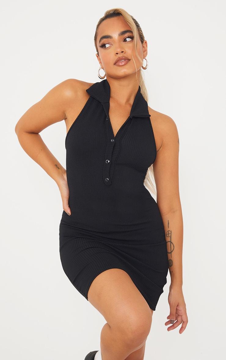 Petite Black Rib Halterneck Button Detail Bodycon Dress 1