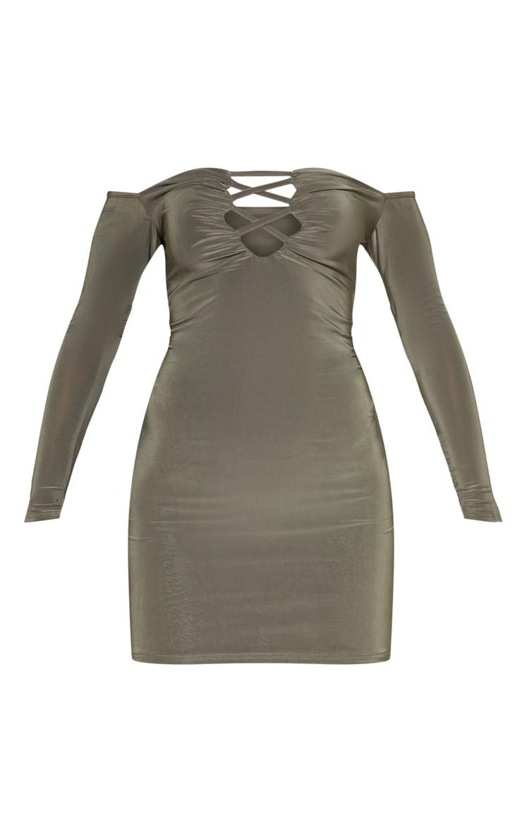 Khaki Slinky Lattice Detail Bodycon Dress 3