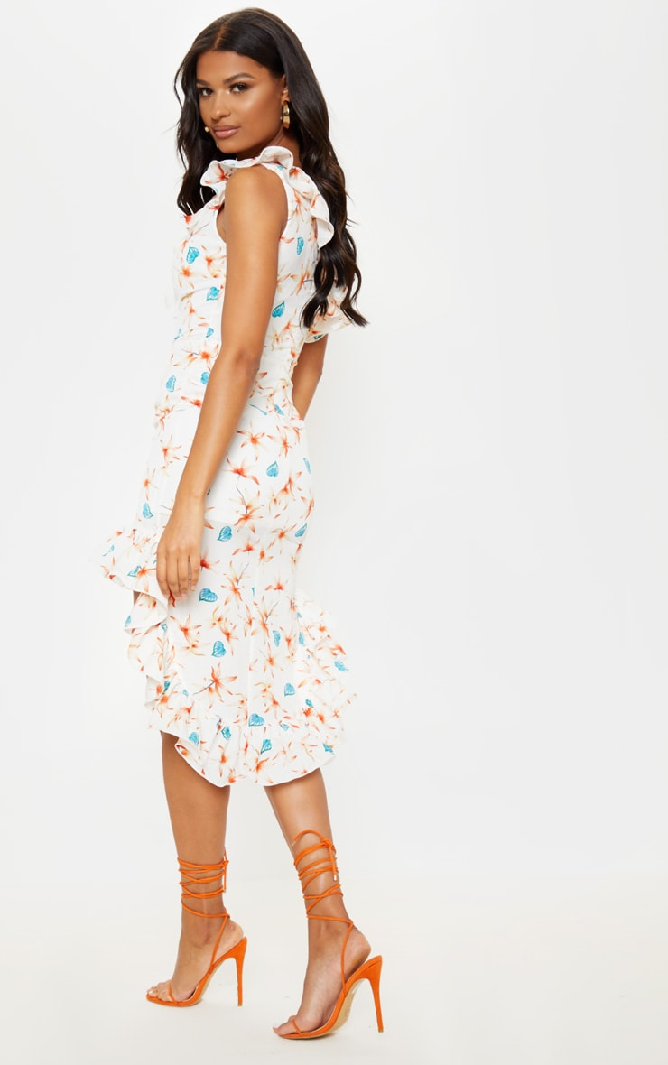 White Floral Print One Shoulder Midi Dress 2