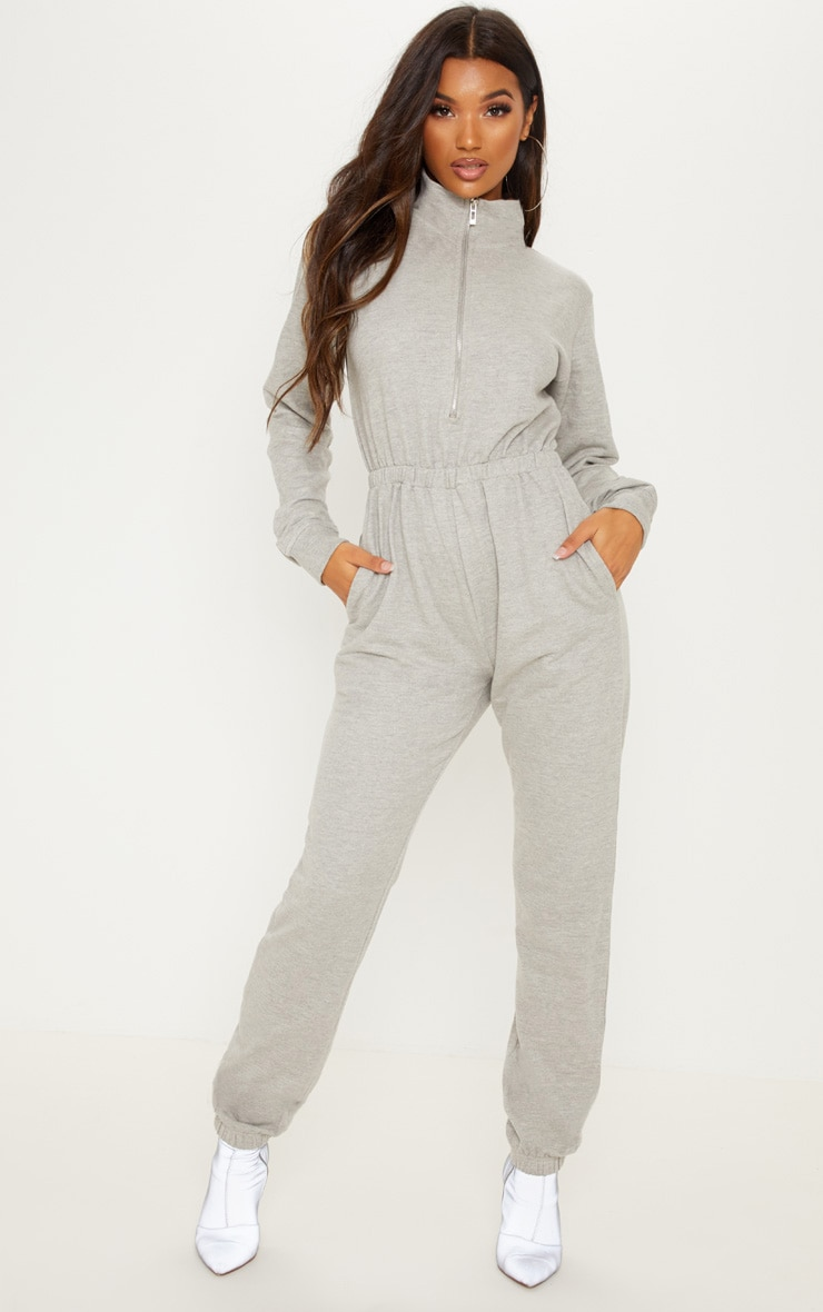Grey Funnel Neck Zip Up Loop Back Jumpsuit