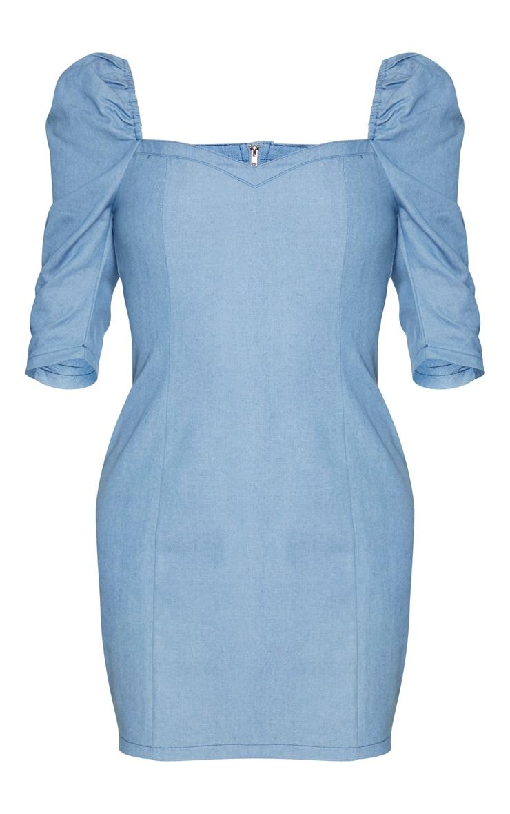 Tall Light Blue Wash Denim Puff Sleeve Mini Dress 5
