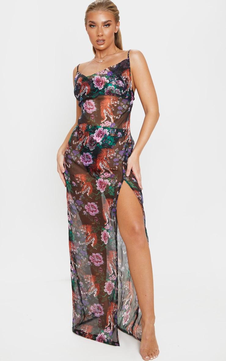 Black Tiger Oriental Cowl Neck Split Leg Maxi Beach Dress 1