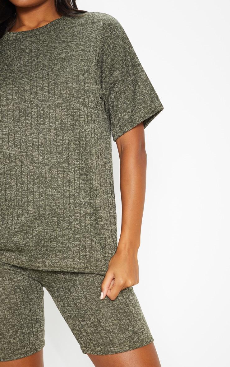 Khaki Rib T Shirt & Bike Short Set 5