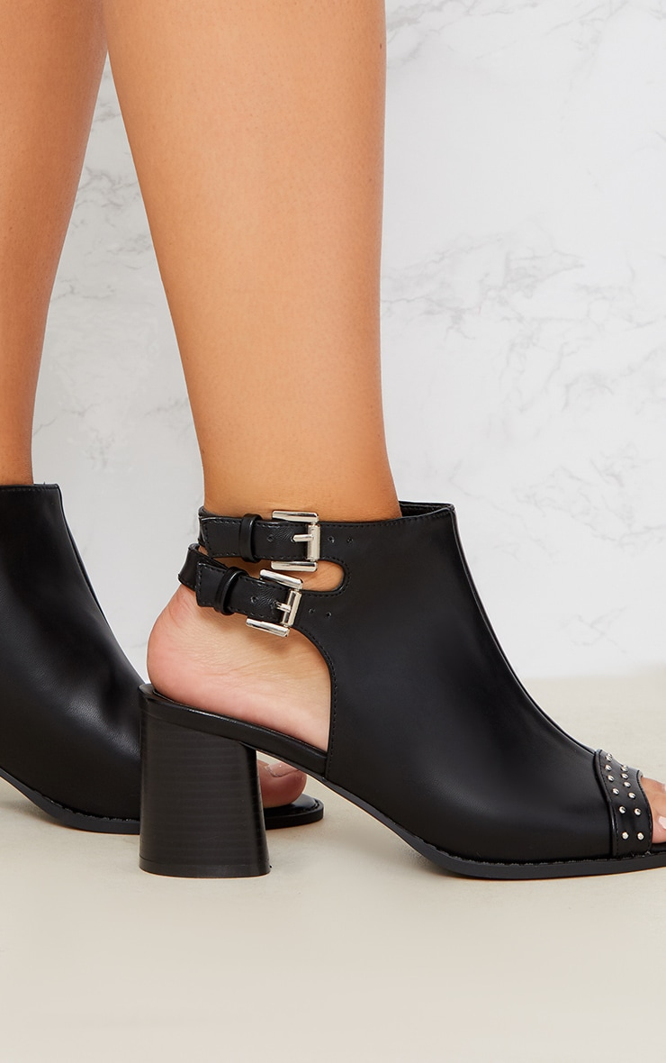 Black Buckle Cut Out Studded Ankle Boot 4