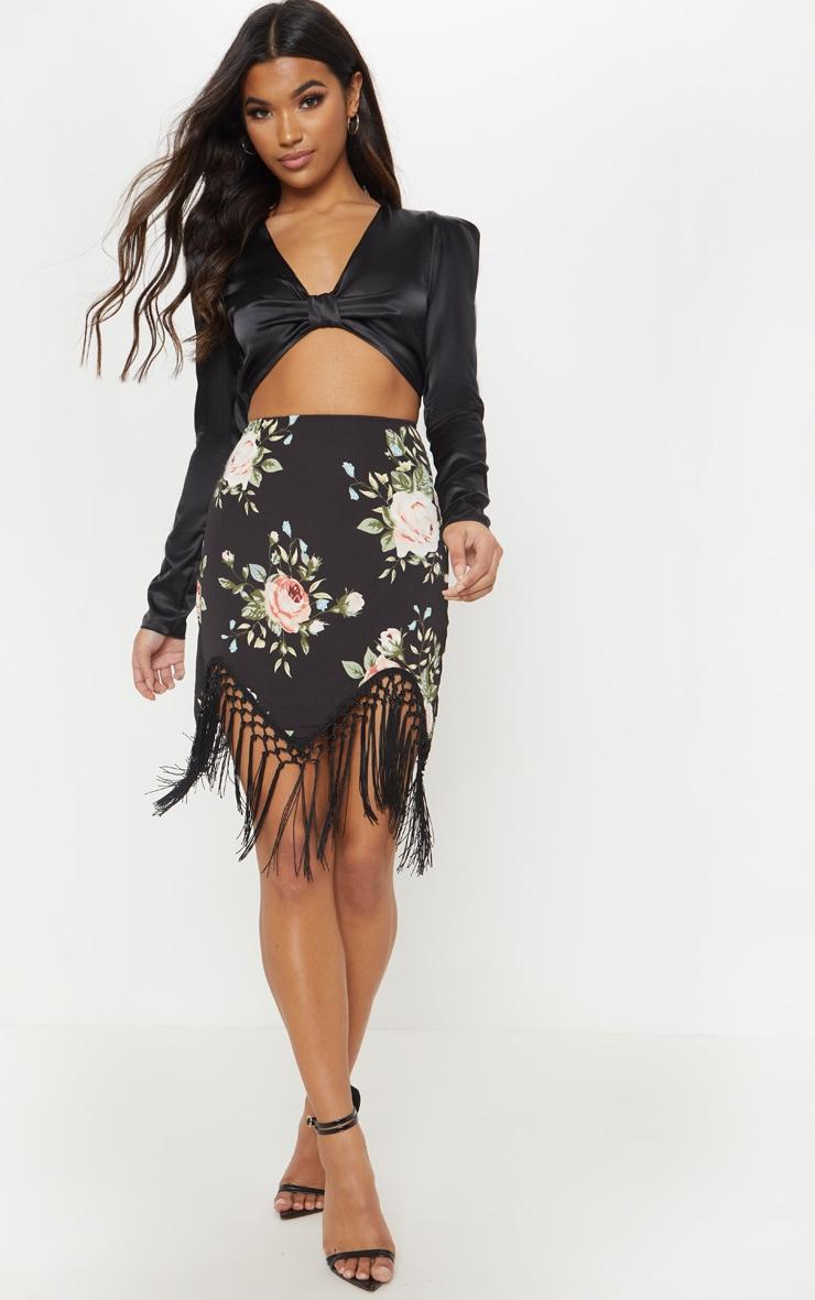 Black Floral Tassel Hem Mini Skirt 1